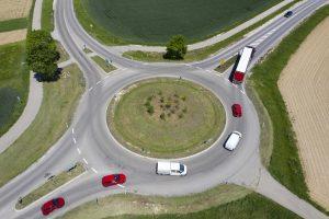 Traffic at Rural Traffic Circle, Aerial View